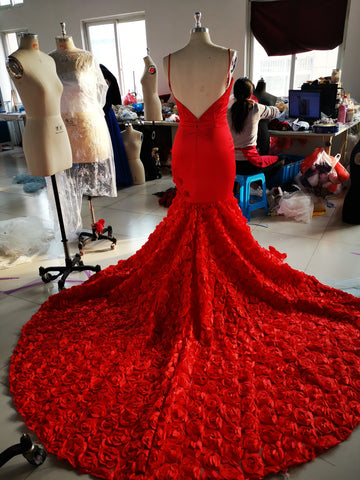 Red Mermaid Prom Dresses Spaghetti Straps Trumpet Sweep Train Rose Lace Prom Dress JKL1117