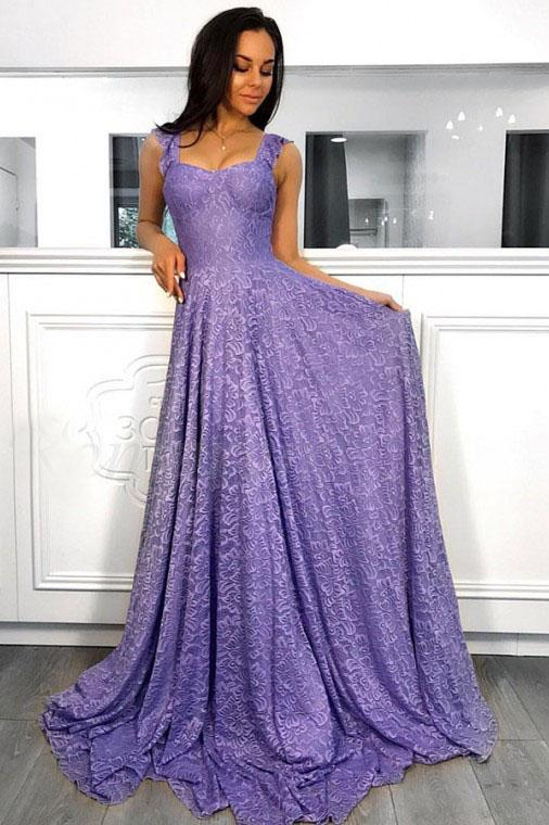 A-Line Straps Sleeveless Sweep Train Lavender Lace Prom Dress JKN4103|Annapromdress