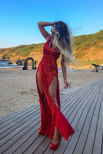 Sheath Spaghetti Straps Backless Red Sequined Prom Dress with Split JKQ5212|Annapromdress
