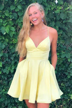 A-line Satin Fit and Flare Yellow Homecoming Dress with Pockets  AN5509