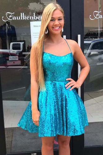 Criss Cross A-Line Short Prom Dress Blue Sequins Homecoming Dress  ANN5510
