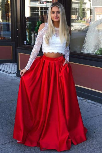 Two Piece Crew Long Sleeves Cold Shoulder Red Long Prom Dress with Lace Pockets LPD93 | Cathyprom