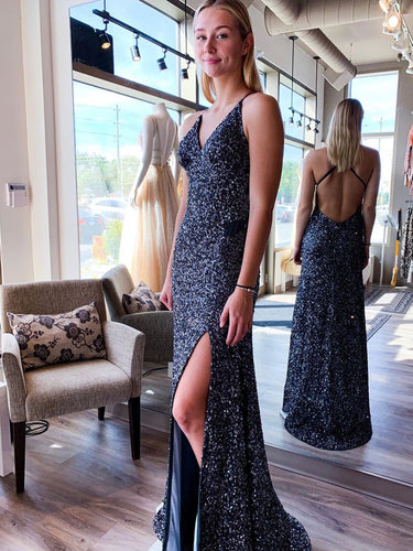 Navy Blue Sequins V-Neck Spaghetti Straps Sheath/Column Prom Dress JKS8426