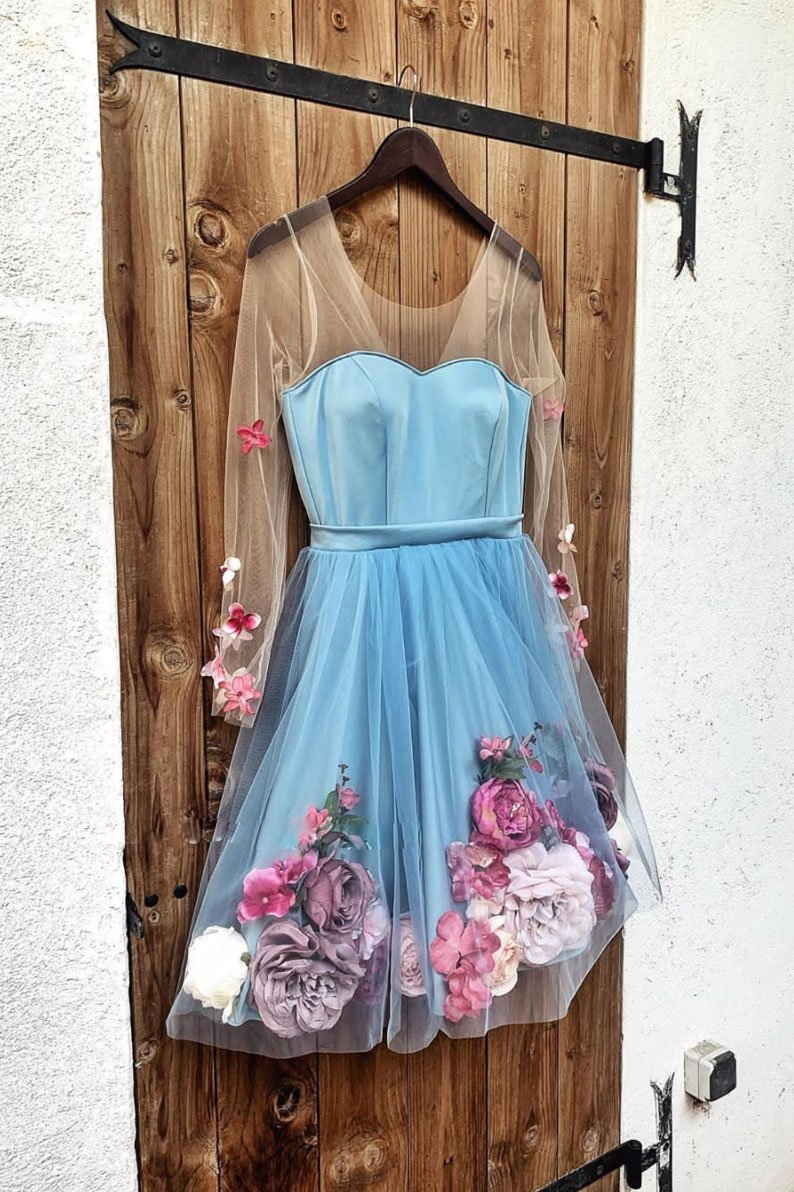 Blue V Neck 3D Appliques Tulle Short Prom Dress Long Sleeve Homecoming Dress JKT304