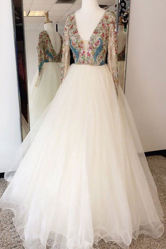 White Tulle V-Neck Beaded Long Sleeve Long Prom Dress JKT321|Annapromdress