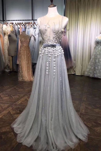 Gray Tulle Lace Beads Long Prom Dress, Gray Tulle Evening Dress JKG012|Annapromdress