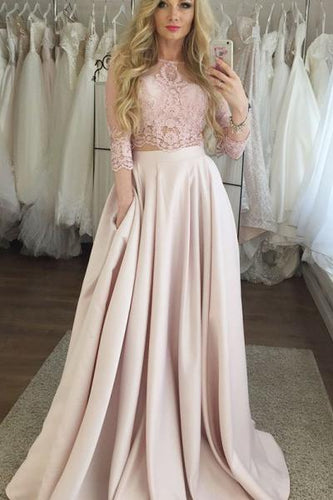 Two Piece Crew 3/4 Sleeves Floor-Length Pink Prom Dress with Lace Pockets LPD80 | Cathyprom