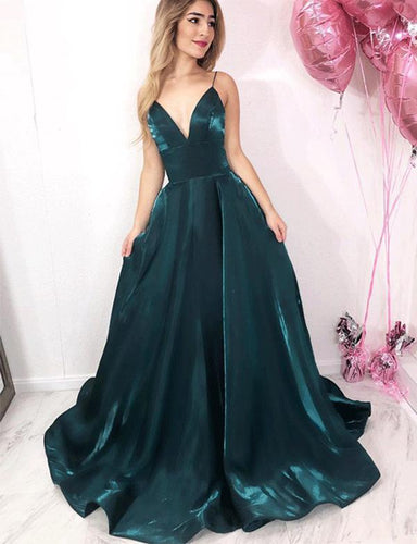 Simple Green Long Prom Dresses Spaghetti Straps Evening Party Dress JKG021