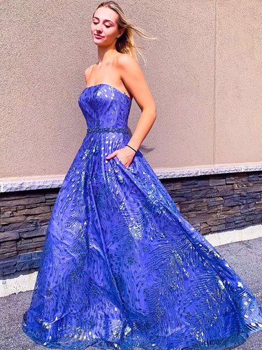 Royal Blue Lace Strapless A-Line Long Prom Dress JKS8425