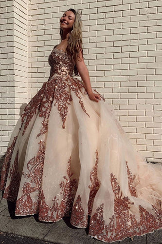 Sweetheart Tulle Sequin Long Prom Gown Evening Dress JKQ5216|annapromdress