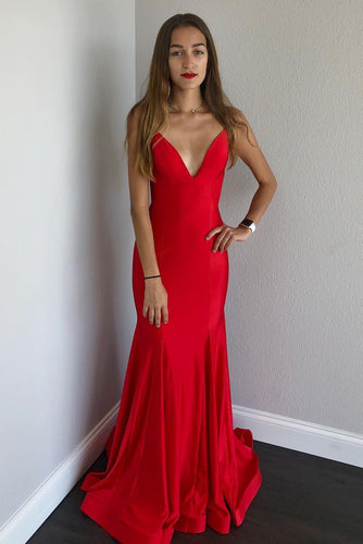 Sexy Spaghetti Straps Mermaid Satin Long Red Prom Dress with Open Back NA634