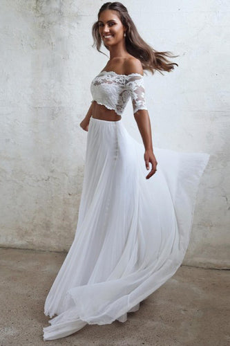 Chic Two Piece Boho Wedding Dress A Line Lace Beach Wedding Gowns YSQ5914