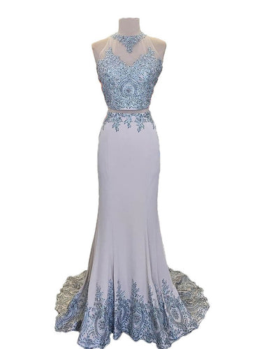 Two Piece Prom Dresses Scoop Mermaid Sweep Train Tight Long Sexy Prom Dress JKS287