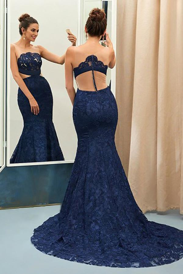 Mermaid Crew Sweep Train Navy Blue Lace Sleeveless Prom Dress with Appliques LR210
