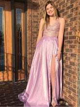 Pink Stretch Satin Spaghetti Straps Appliques A-Line Long Prom Dress with Slit JKS8424