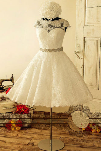 Ivory Lace Cap Sleeve Short Wedding Dress with Belt Tea Length Wedding Gowns JKT324