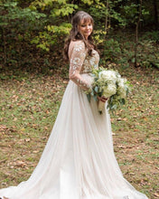 A-Line Long Sleeves Chic Embroidery Bohemian Wedding Dress Backless,JKZ6122|Annapromdress
