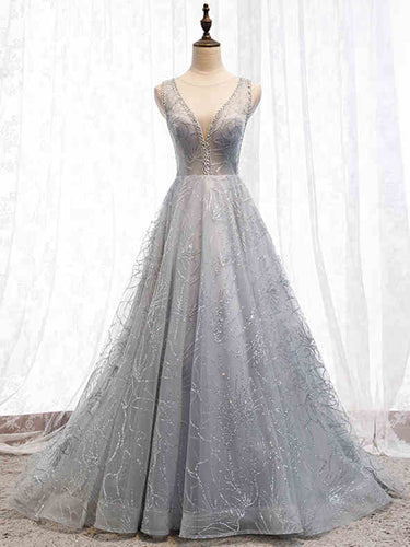 Deep V Neck Silver Sparkly Prom Dresses Open Back 2019 Long A Line Sweep Train Prom/Evening Gowns YSR441|annaprom