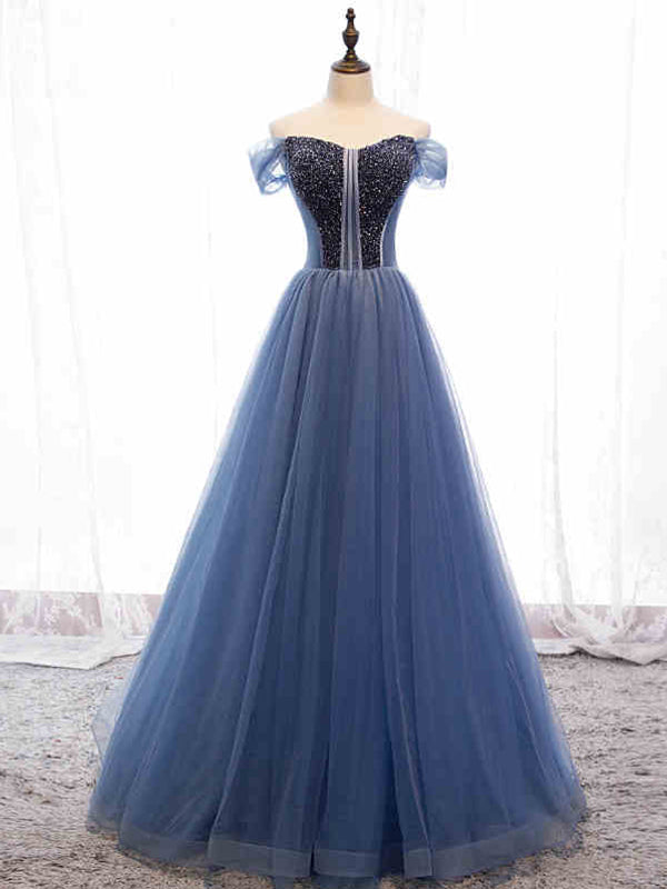 Modest Tulle A Line Long Prom Dresses Cap Sleeve Sweetheart Stunning Beading Prom/Evening Dress YSR339