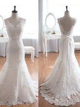 A-line Sweep/Brush Train Lace Backless White Wedding Dresses  SP8141