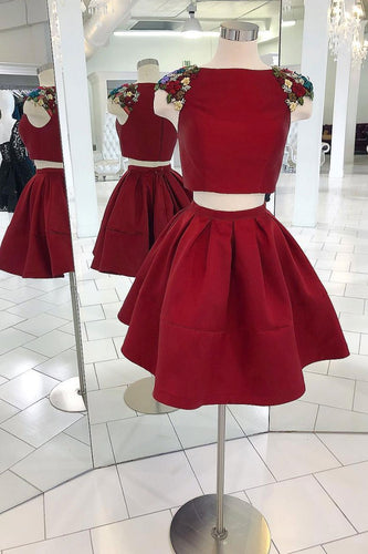 Burgundy two pieces satin short prom dress, burgundy homecoming dress JKF011|Annapromdress