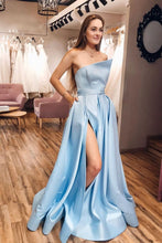 Strapless Satin Light Blue Slit A Line Simple Prom Dresses With Pocktets JKQ5211|annapromdress
