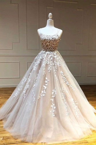 Champagne Tulle Scoop Appliqued Lace Long Prom Dress JKP507