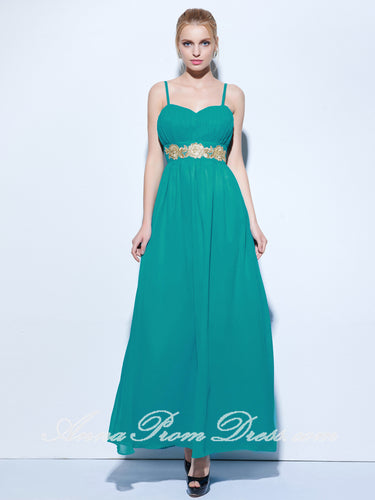 Cheap Prom Dresses A-line Spaghetti Straps Appliques Long Sexy Simple Prom Dress 270467