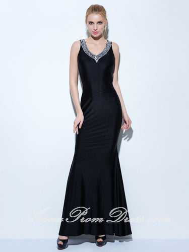 Black Prom Dresses V neck Floor-length Rhinestone Sexy Mermaid Prom Dress 270748
