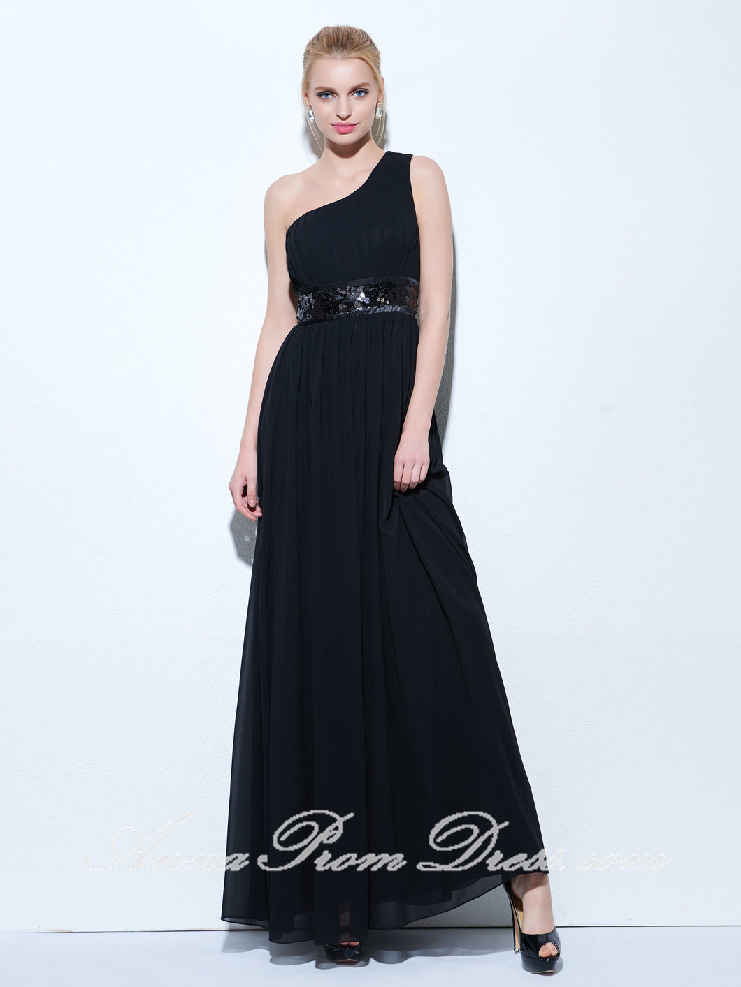 Cheap Prom Dresses A-line Floor-length Flowly Long Sexy Black Prom Dress 271494