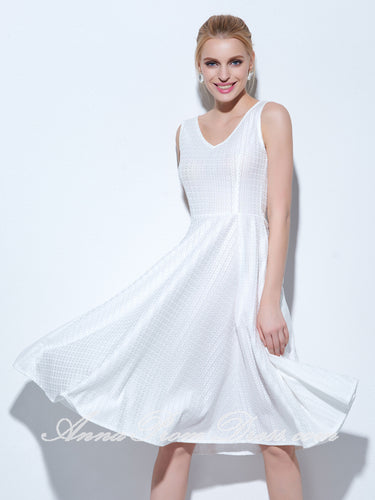 White Homecoming Dress V-neck A-line Knee Length Lace Short Prom Dress Party Dress 271906