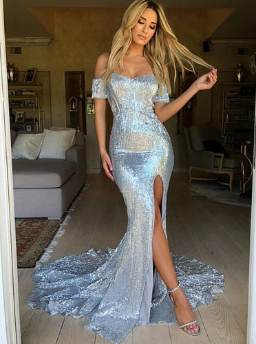 Silver Sweetheart Off Shoulder Sequin Prom Dresses Split Evening Dress NA5003|LOMANPROM