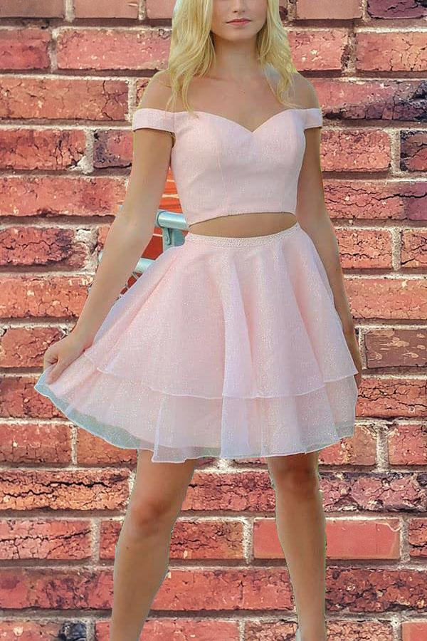 Princess Two Piece Short Pink Homecoming Dress with Pockets NA639
