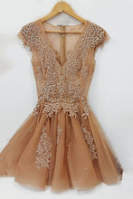 Champagne v neck lace tulle short prom dress, lace tulle homecoming dress JKF017