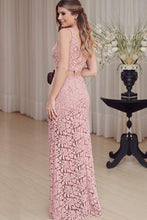 Mermaid Crew Floor-Length Cut Out Blush Lace Sleeveless Prom Dress LR469 | ballgownbridal