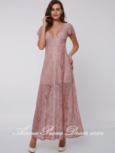 Cheap Prom Dresses A-line V-neck Lace Floor-length Sexy Simple Prom Dress 300687