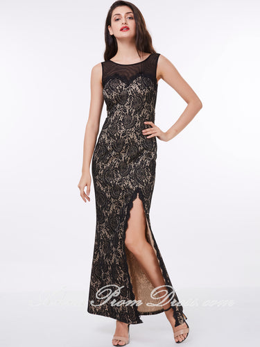Sexy Prom Dresses Sheath Column Scoop Ankle Length Long Black Lace Prom Dress 309354