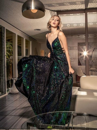 Sexy Deep V-neck Green Sequin Prom Dresses,Cheap Prom Dresses JKG013|Annapromdress