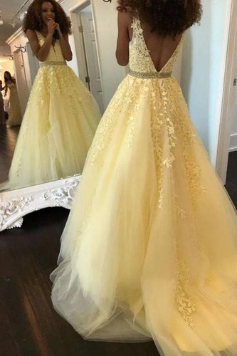 A-line V-neck Tulle Appliques Long Prom Dress JKQ127