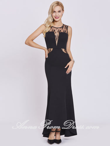 Mermaid Prom Dresses Trumpet Scoop Floor-length Long Black Sexy Cheap Prom Dress 399008