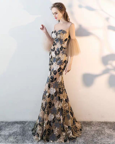 Exquisite Lace Illusion Half Sleeves Trumpet/Mermaid Prom Evening Dress JKR601