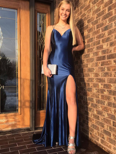 Navy Blue Stretch Satin Spaghetti Straps Sheath/Column Prom Dress with Slit JKS8422