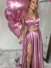 Knotting Spaghetti Straps Long Pink Prom Dress with Slit AN612