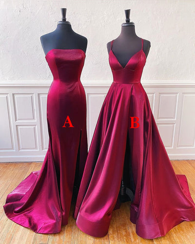 V-neck Spaghetti Straps Satin Simple Prom Dress Long Homecoming Dress ZJK8302|Annapromdress