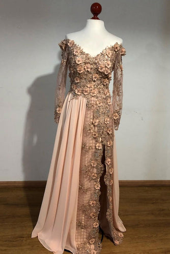 Champagne lace applique long prom dress, champagne evening dress JKF019