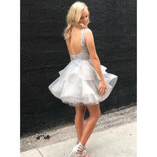 Light Grey Lace Appliques BALL Gown Cute Homecoming Dress Backless AN12307|Annapromdress