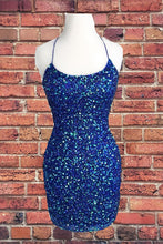Royal Blue Sequin Halter Sheath Homecoming Dress Backless Party Dress AN336|Annapromdress