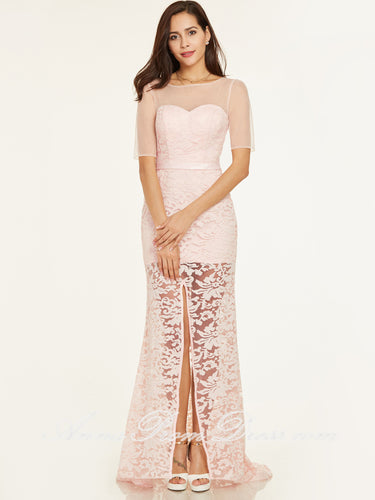 Cheap Prom Dresses Slit Sheath Short Sleeve Pearl Pink Peach Lace Long Prom Dress 412705