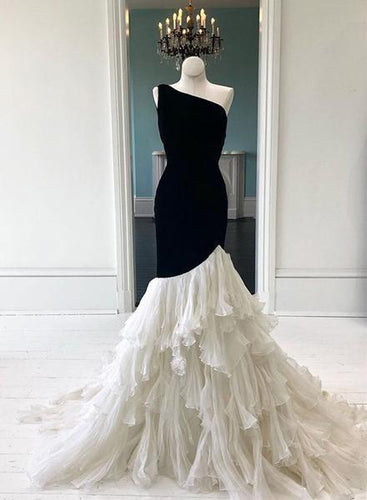 Unique One Shoulder Sleeveless Tiered Tulle Mermaid Prom Dresses NA5007|LOMANPROM