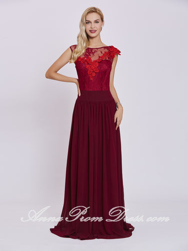 Burgundy Prom Dresses A-line Bateau Floor-length Lace Long Cheap Prom Dress 431930